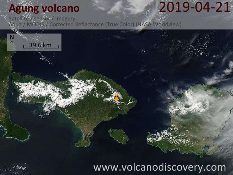 Satellite image of Agung volcano on 21 Apr 2019