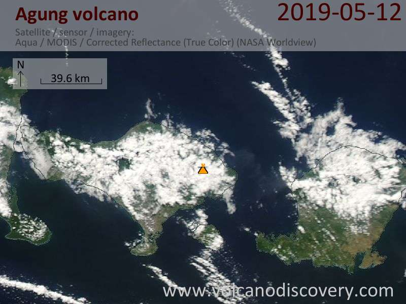 Satellite image of Agung volcano on 12 May 2019