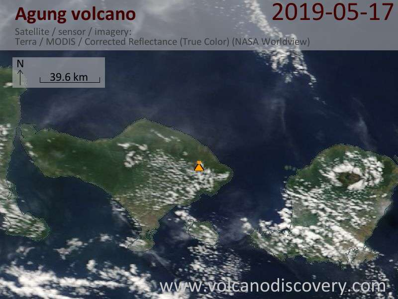 Satellite image of Agung volcano on 17 May 2019