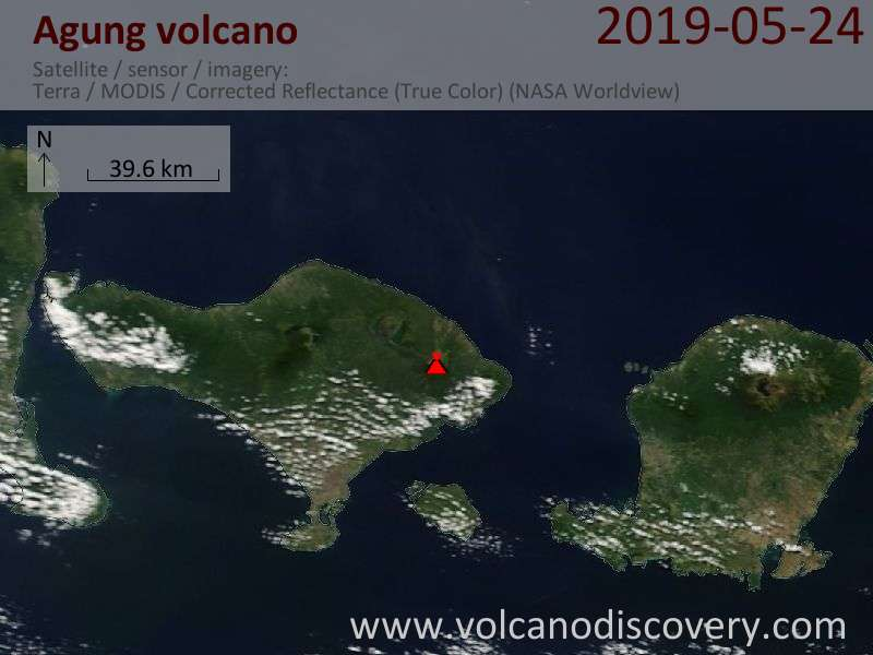 Satellite image of Agung volcano on 24 May 2019