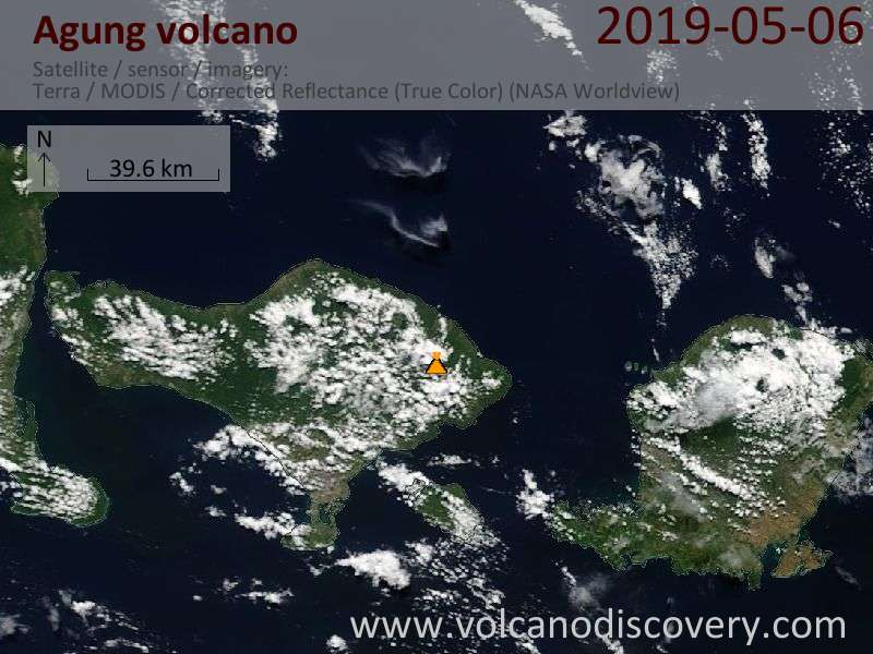 Satellite image of Agung volcano on  6 May 2019