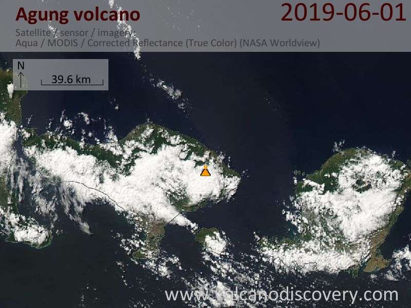 Satellite image of Agung volcano on  1 Jun 2019