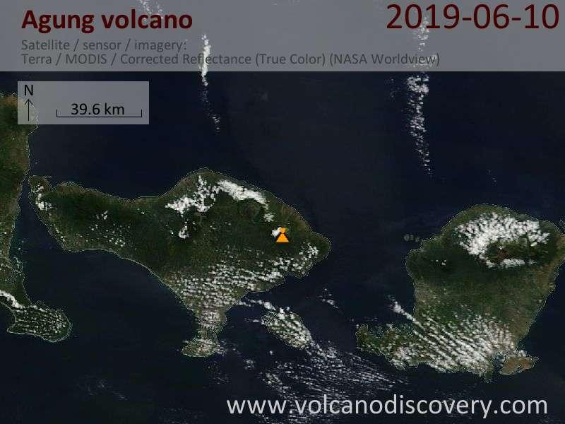 Satellite image of Agung volcano on 10 Jun 2019