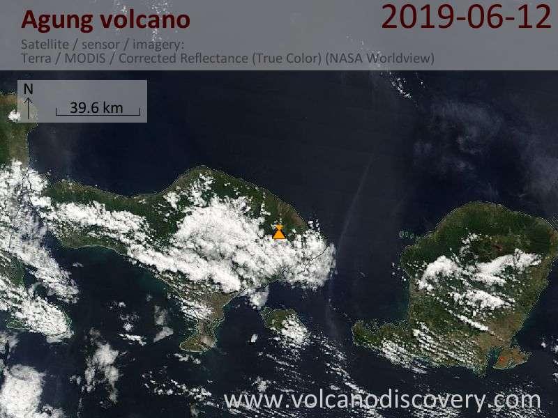 Satellite image of Agung volcano on 12 Jun 2019