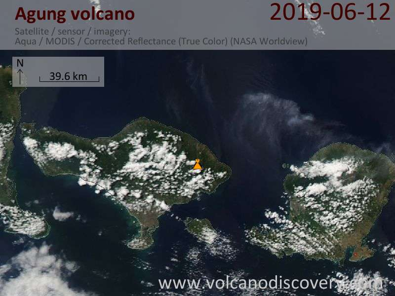 Satellite image of Agung volcano on 13 Jun 2019