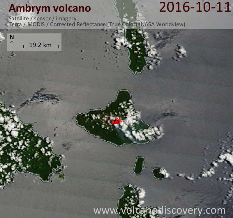 Satellite image of Ambrym volcano on 11 Oct 2016