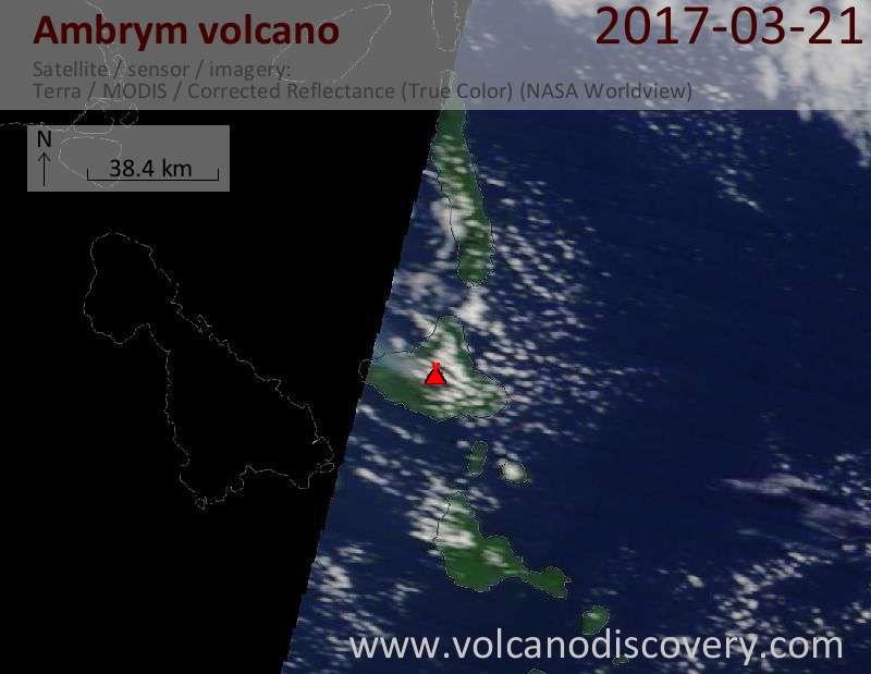Satellite image of Ambrym volcano on 21 Mar 2017