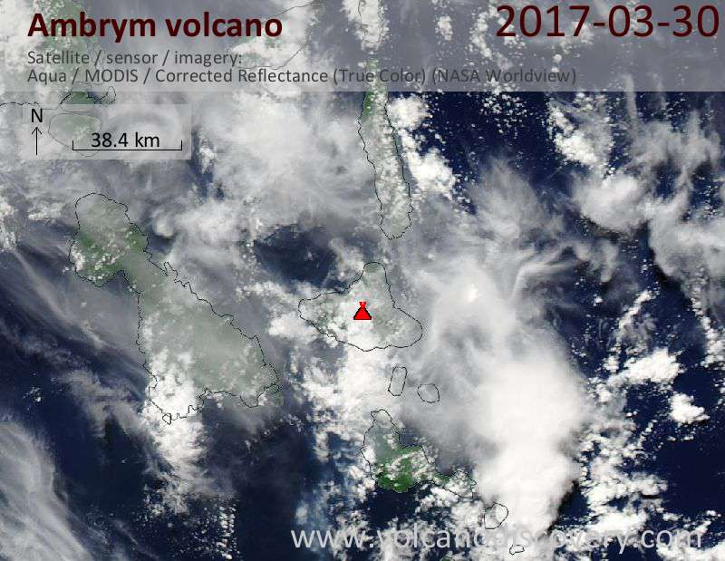 Satellite image of Ambrym volcano on 30 Mar 2017