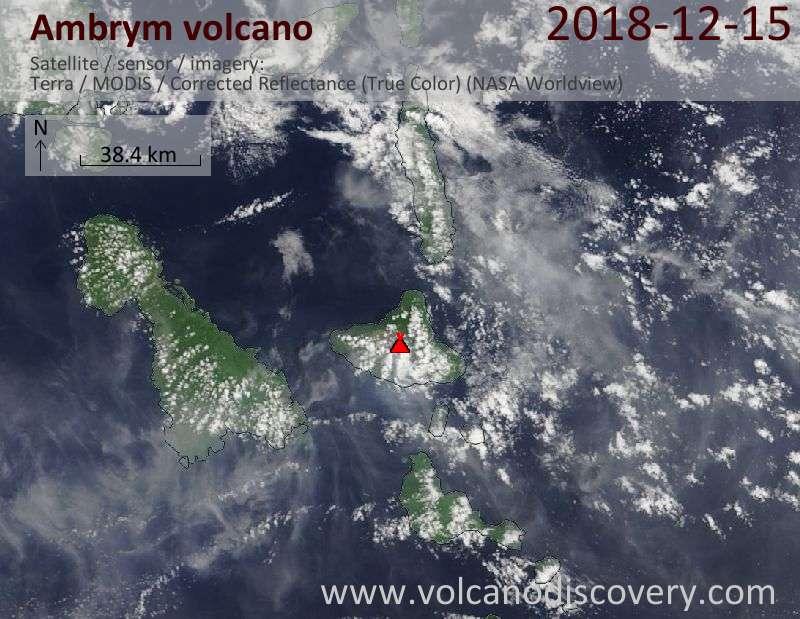 Satellite image of Ambrym volcano on 15 Dec 2018