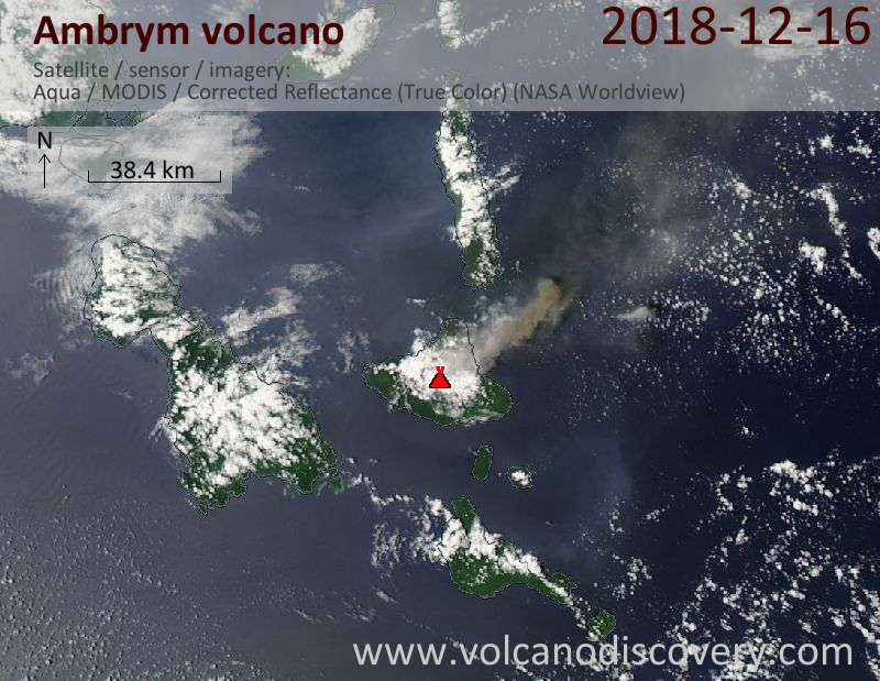 Satellite image of Ambrym volcano on 16 Dec 2018