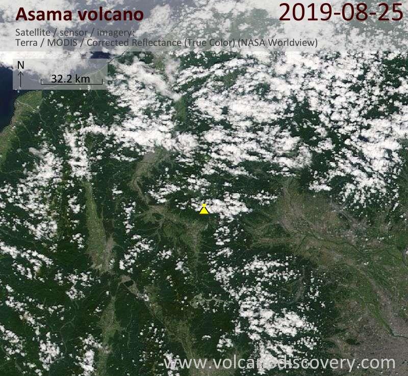 Satellite image of Asama volcano on 25 Aug 2019