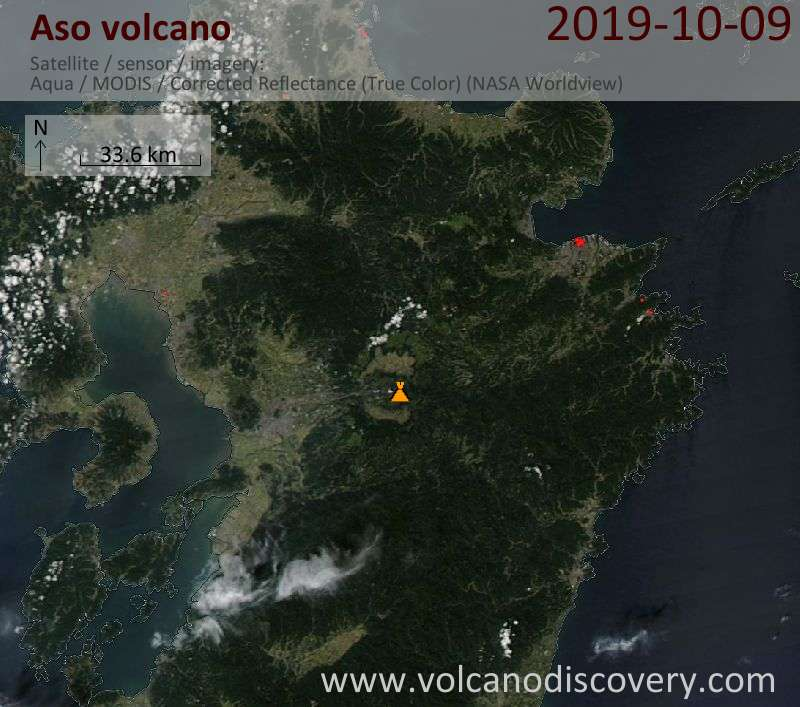 Satellite image of Aso volcano on 10 Oct 2019