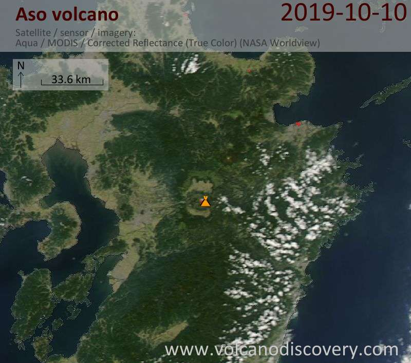 Satellite image of Aso volcano on 11 Oct 2019