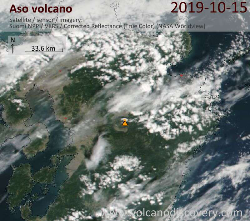 Satellite image of Aso volcano on 16 Oct 2019
