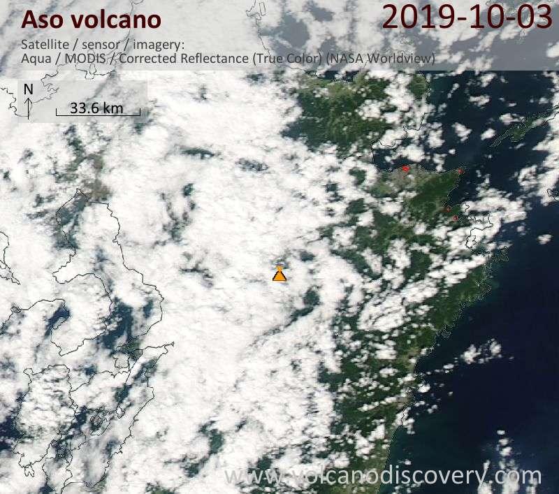 Satellite image of Aso volcano on  4 Oct 2019