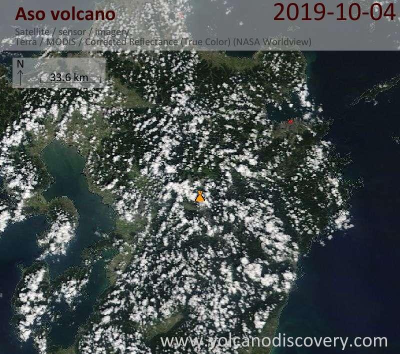 Satellite image of Aso volcano on  5 Oct 2019