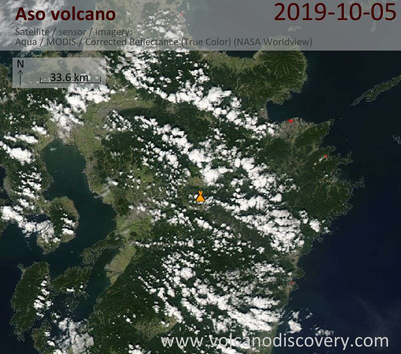 Satellite image of Aso volcano on  6 Oct 2019