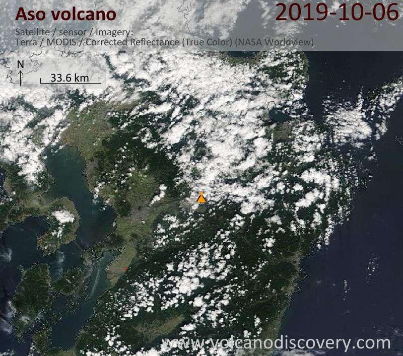 Satellite image of Aso volcano on  7 Oct 2019