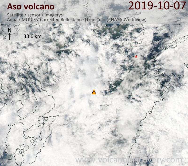 Satellite image of Aso volcano on  8 Oct 2019
