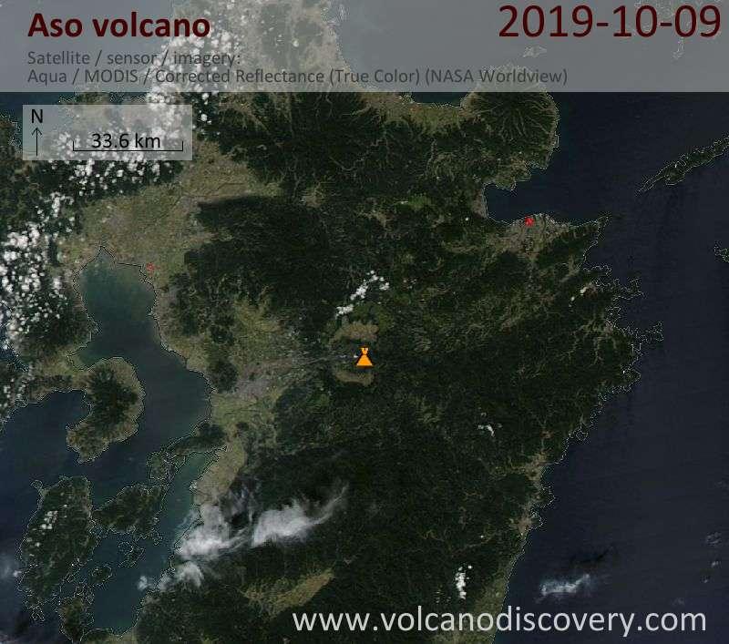 Satellite image of Aso volcano on  9 Oct 2019
