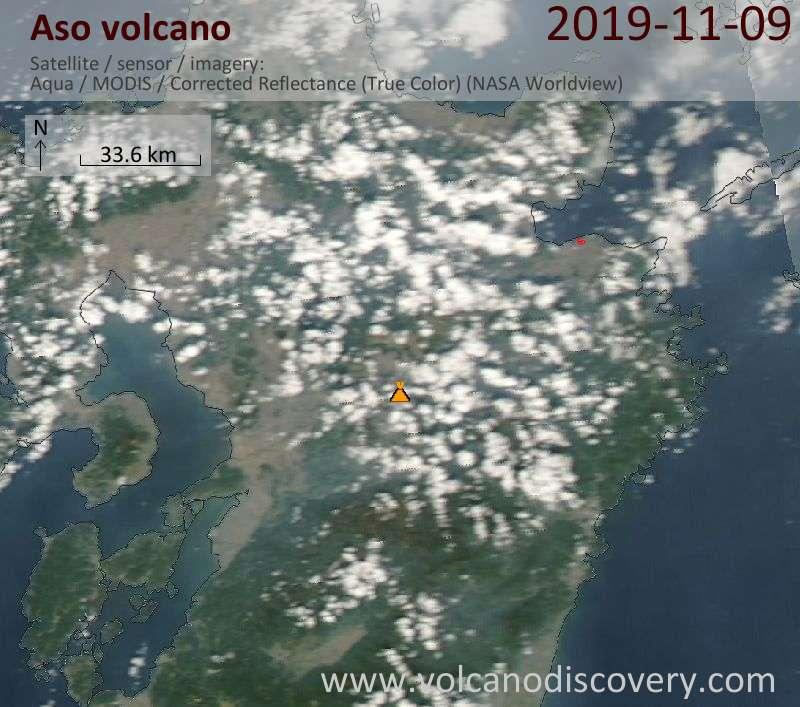 Satellite image of Aso volcano on 10 Nov 2019