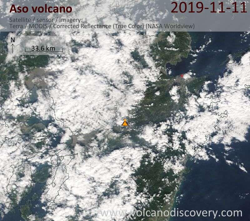 Satellite image of Aso volcano on 11 Nov 2019