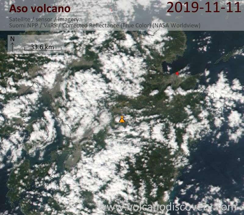 Satellite image of Aso volcano on 12 Nov 2019