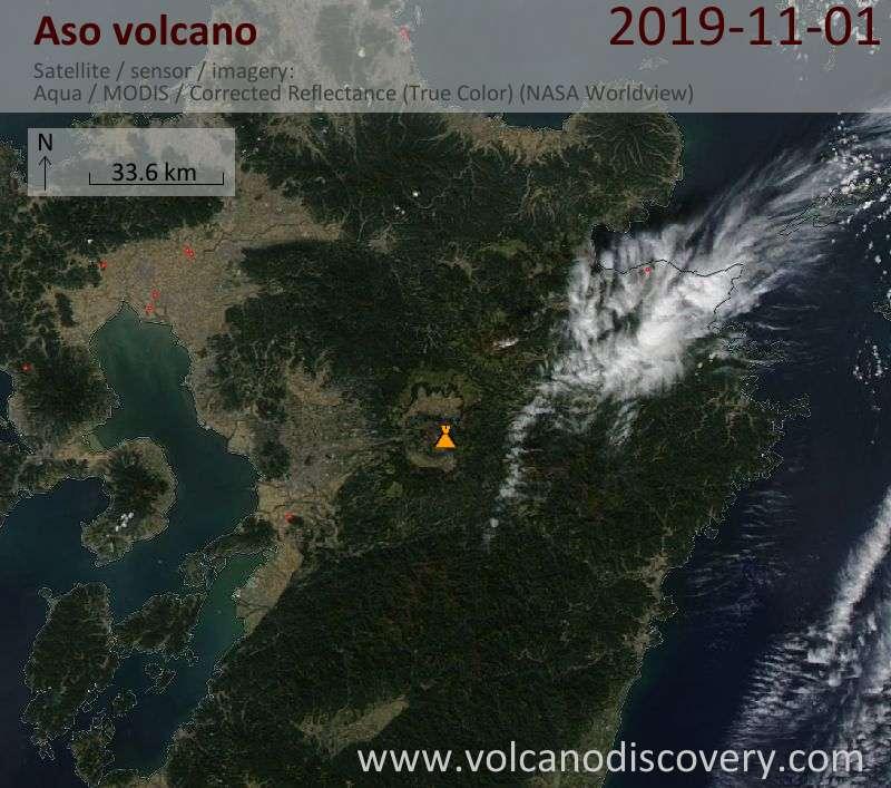 Satellite image of Aso volcano on  2 Nov 2019