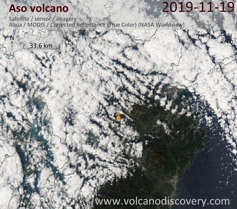 Satellite image of Aso volcano on 20 Nov 2019