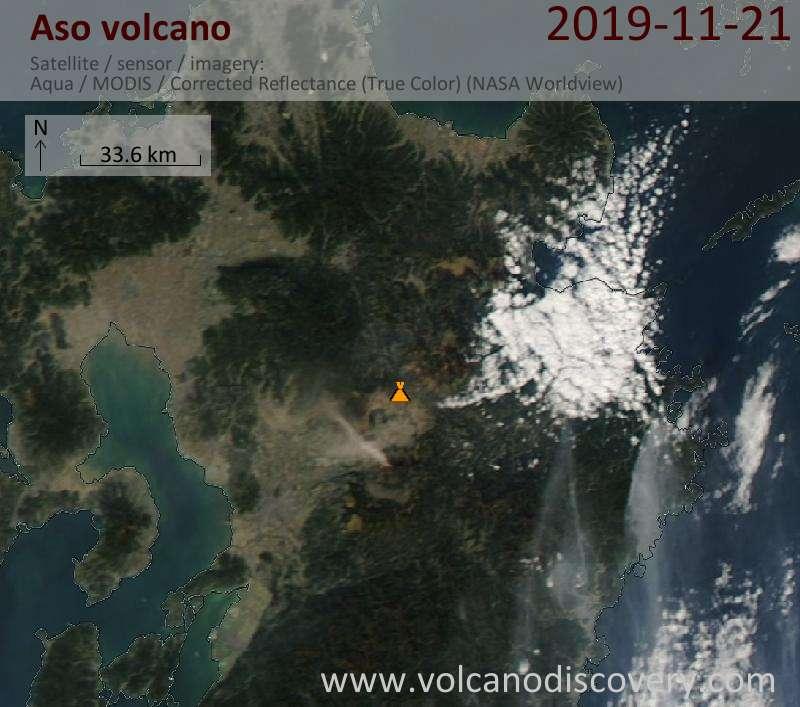 Satellite image of Aso volcano on 22 Nov 2019