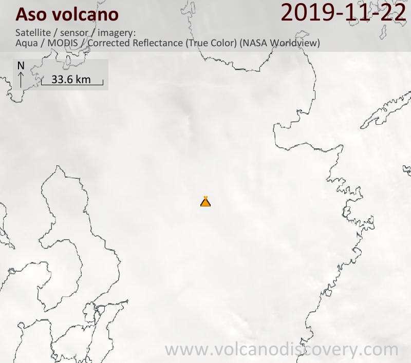 Satellite image of Aso volcano on 23 Nov 2019