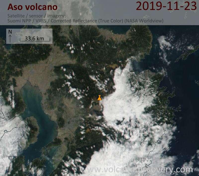 Satellite image of Aso volcano on 24 Nov 2019