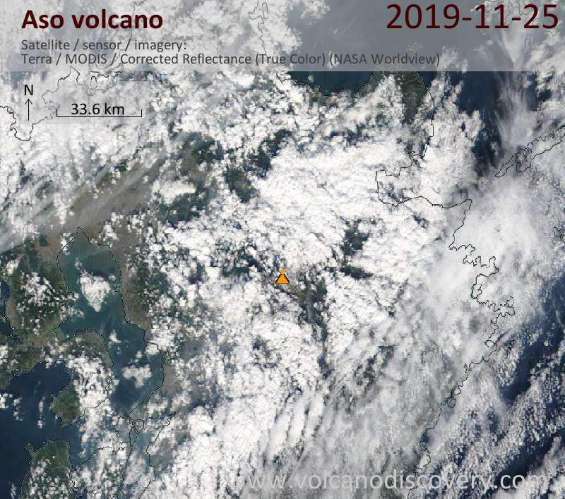 Satellite image of Aso volcano on 25 Nov 2019
