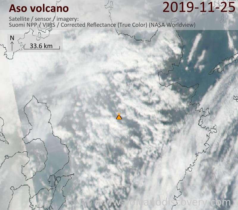 Satellite image of Aso volcano on 26 Nov 2019