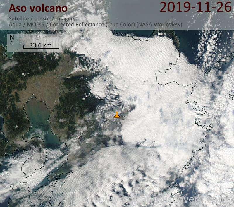 Satellite image of Aso volcano on 27 Nov 2019