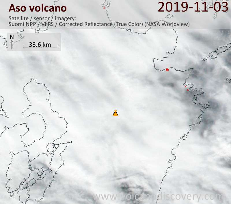 Satellite image of Aso volcano on  4 Nov 2019