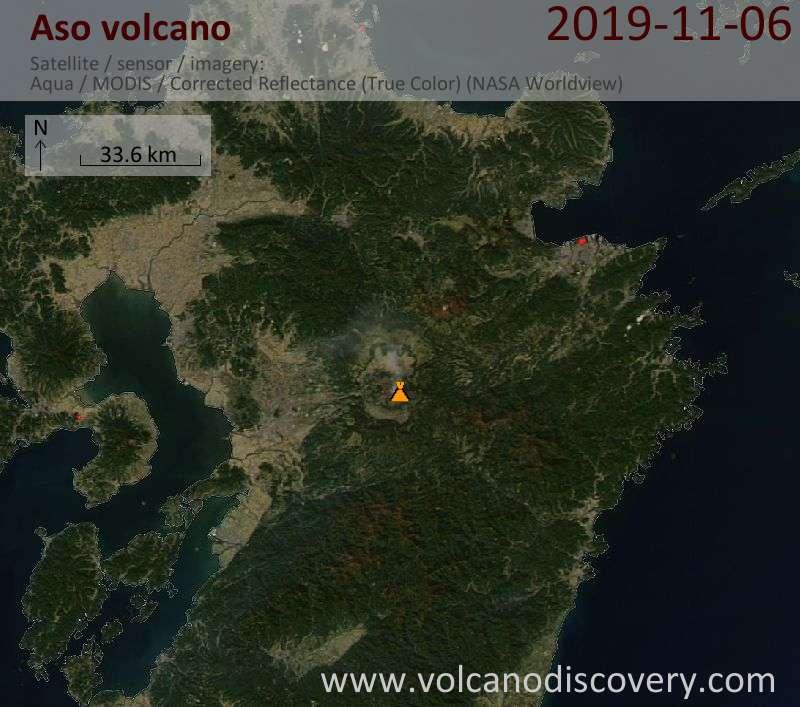 Satellite image of Aso volcano on  7 Nov 2019