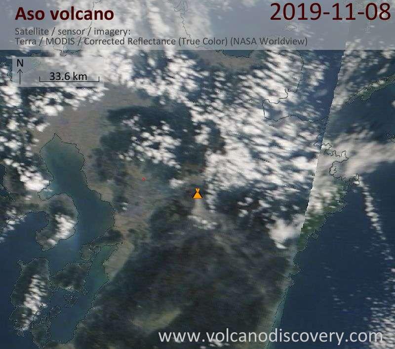 Satellite image of Aso volcano on  8 Nov 2019