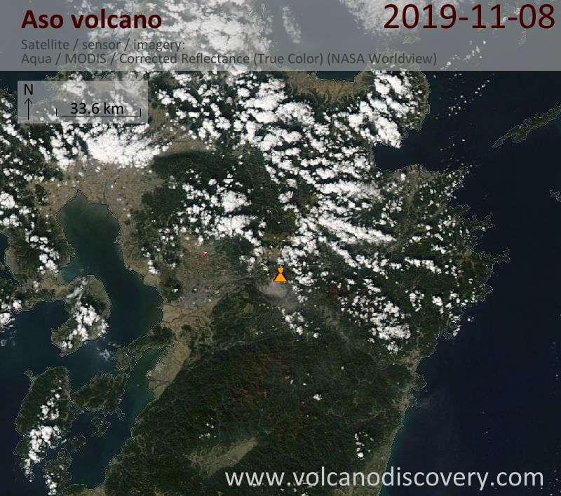 Satellite image of Aso volcano on  9 Nov 2019
