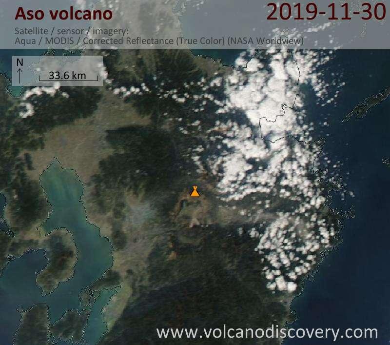 Satellite image of Aso volcano on  1 Dec 2019