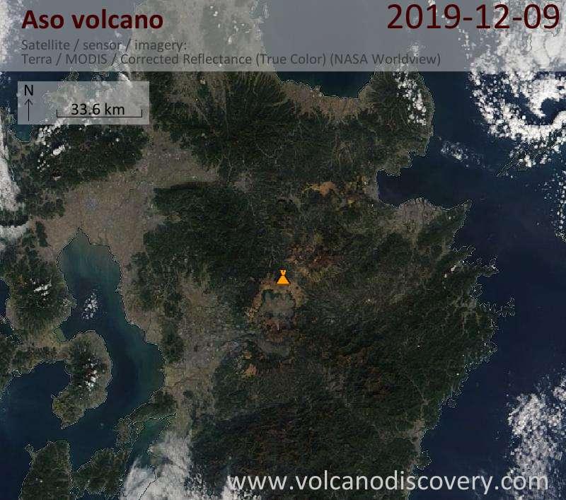 Satellite image of Aso volcano on  9 Dec 2019
