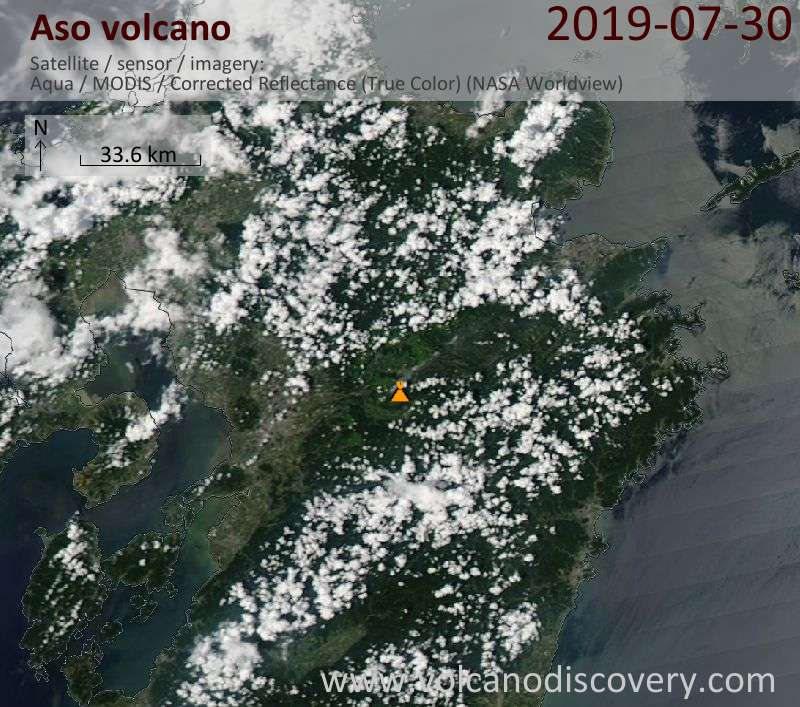 Satellite image of Aso volcano on 30 Jul 2019