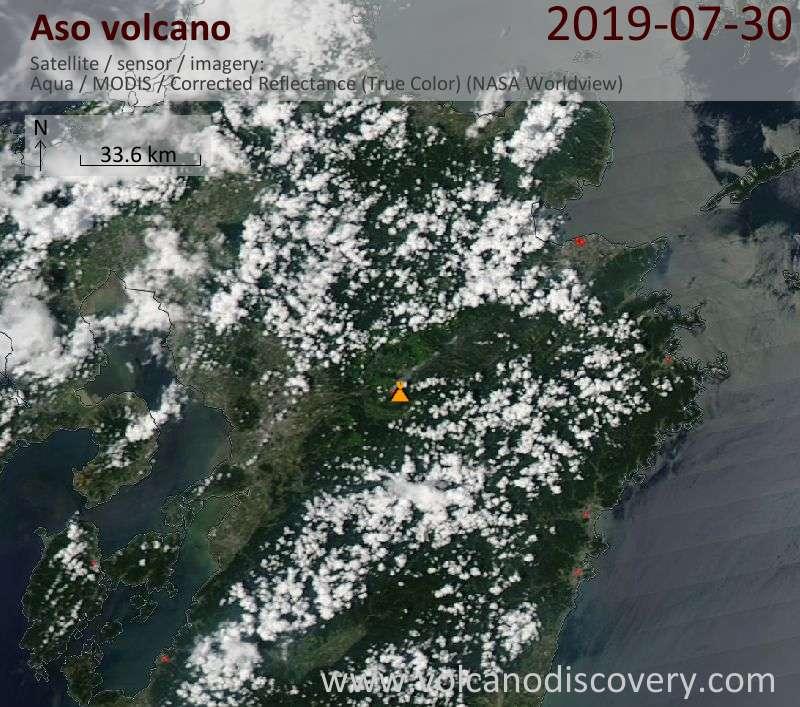 Satellitenbild des Aso Vulkans am 31 Jul 2019