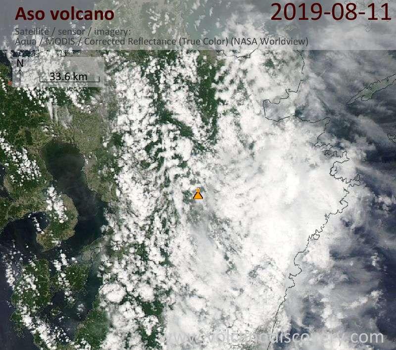 Satellite image of Aso volcano on 12 Aug 2019