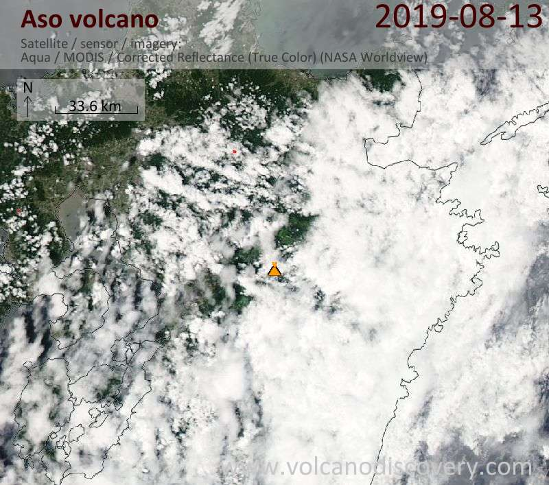 Satellite image of Aso volcano on 13 Aug 2019