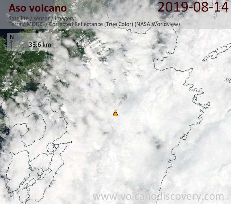 Satellitenbild des Aso Vulkans am 14 Aug 2019