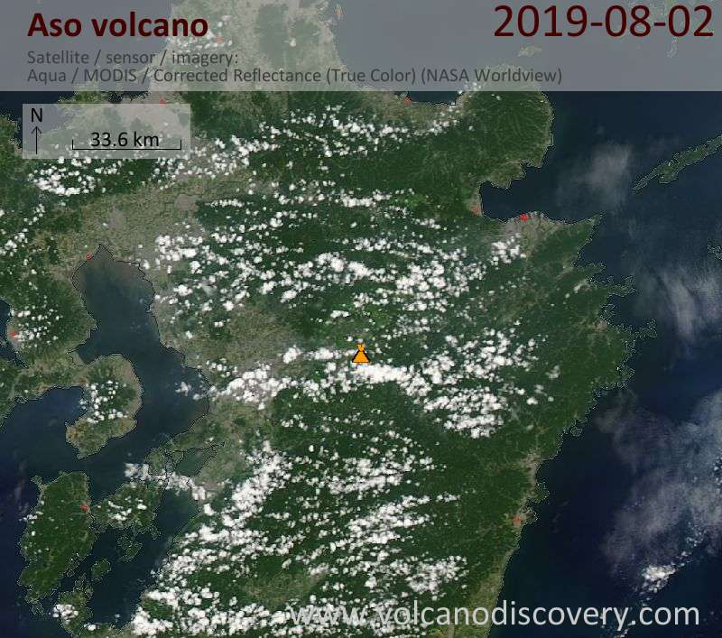 Satellite image of Aso volcano on  3 Aug 2019
