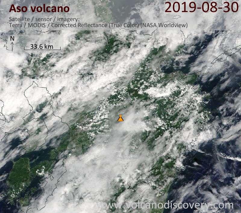 Satellite image of Aso volcano on 30 Aug 2019