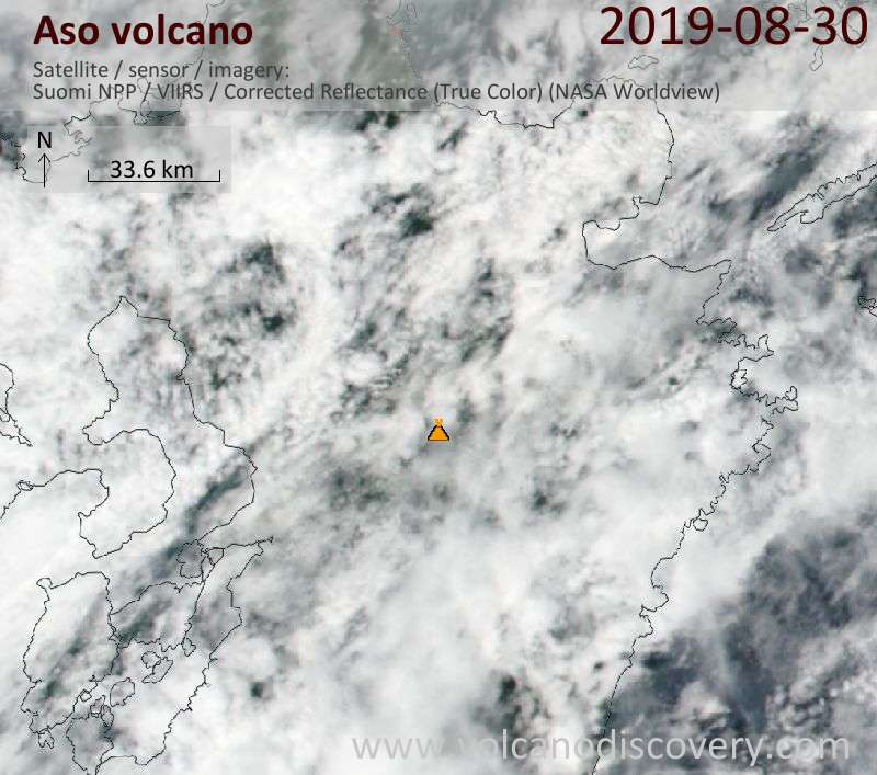 Satellite image of Aso volcano on 31 Aug 2019