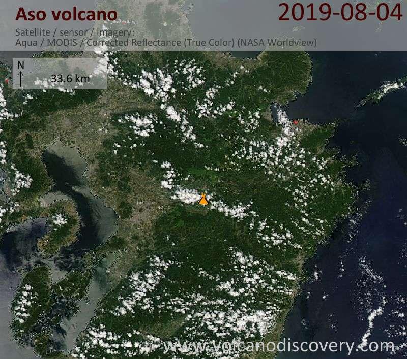Satellite image of Aso volcano on  4 Aug 2019